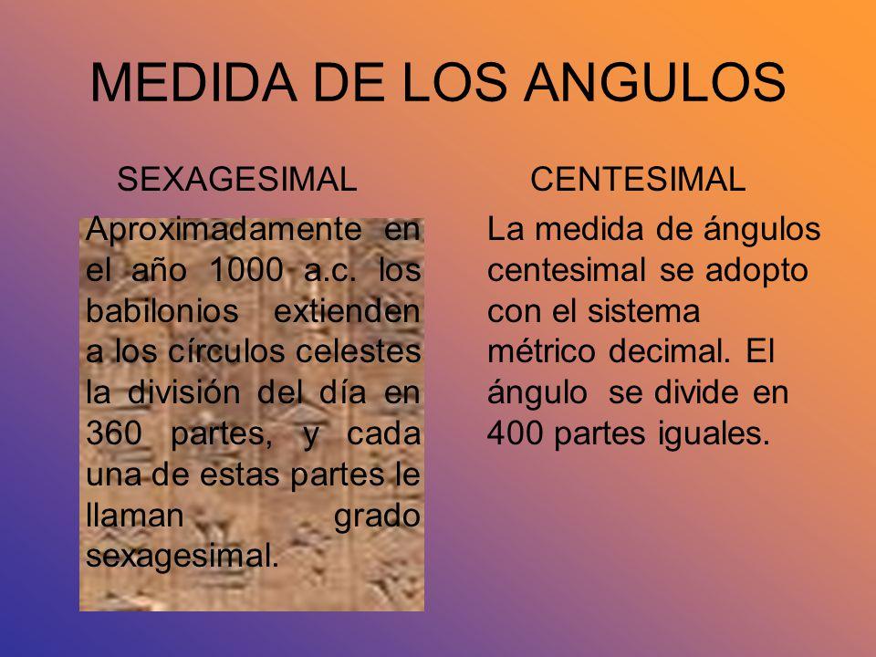 MEDIDA DE LOS ANGULOS SEXAGESIMAL Aproximadamente en el año 1000 a.c. los babilonios extienden a los círculos celestes la división del día en 360 part