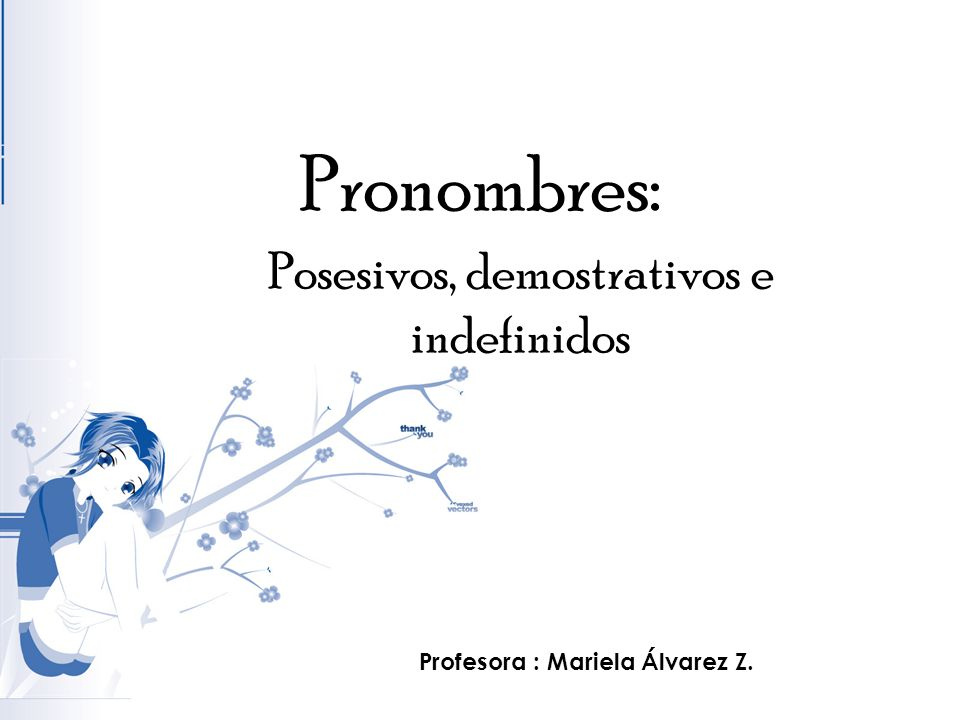 Pronombres: Posesivos, demostrativos e indefinidos Profesora : Mariela Álvarez Z.