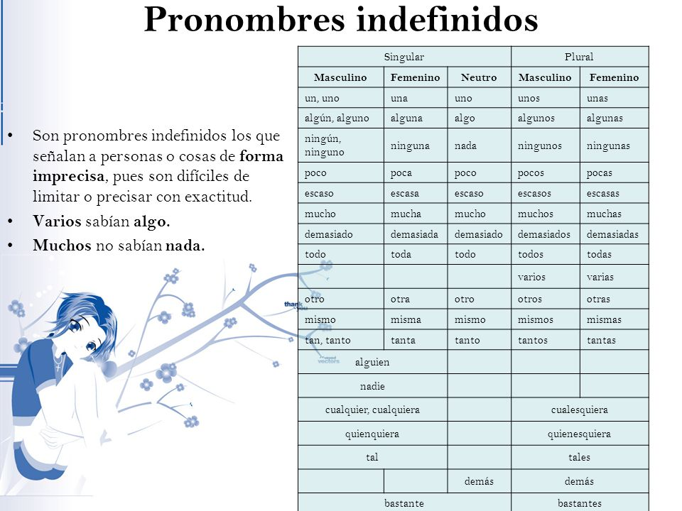 Pronombres indefinidos Son pronombres indefinidos los que señalan a personas o cosas de forma imprecisa, pues son difíciles de limitar o precisar con exactitud.