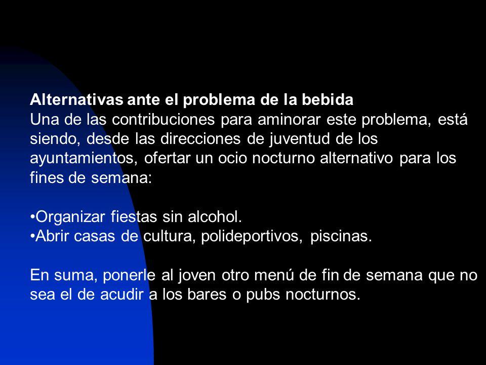 Alternativas ante el problema de la bebida Una de las contribuciones para aminorar este problema, está siendo, desde las direcciones de juventud de lo