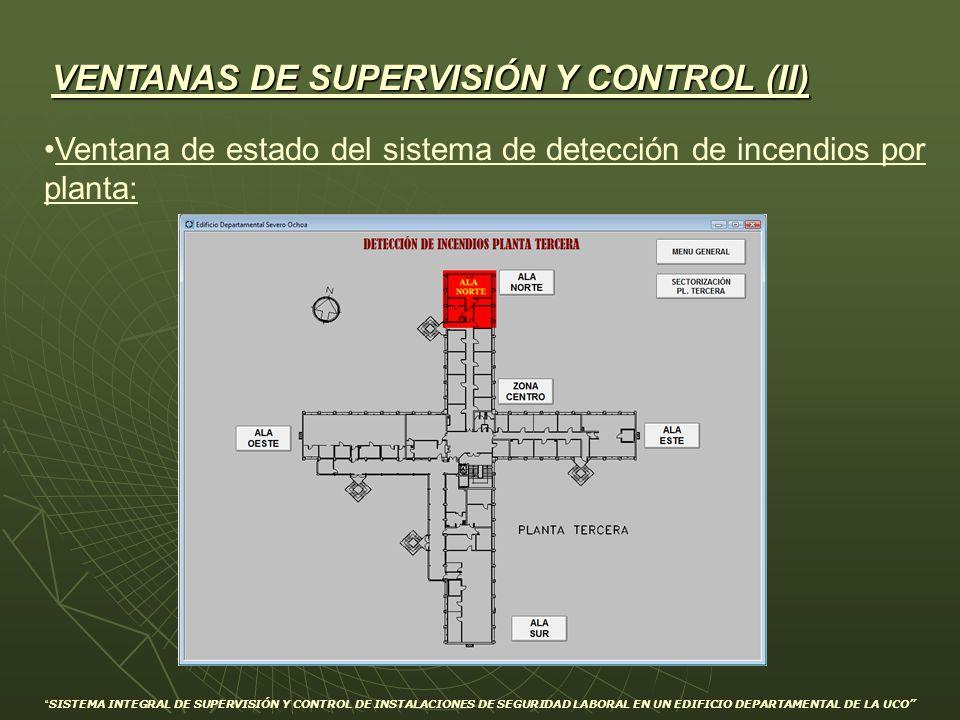 VENTANAS DE SUPERVISIÓN Y CONTROL (II) Ventana de estado del sistema de detección de incendios por planta: SISTEMA INTEGRAL DE SUPERVISIÓN Y CONTROL D
