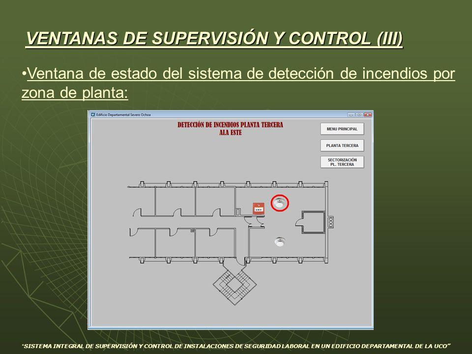 VENTANAS DE SUPERVISIÓN Y CONTROL (III) Ventana de estado del sistema de detección de incendios por zona de planta: SISTEMA INTEGRAL DE SUPERVISIÓN Y