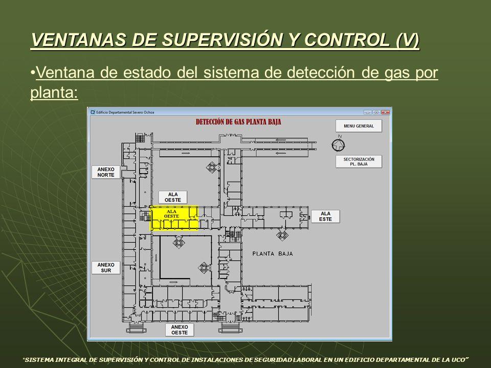 Ventana de estado del sistema de detección de gas por planta: VENTANAS DE SUPERVISIÓN Y CONTROL (V) SISTEMA INTEGRAL DE SUPERVISIÓN Y CONTROL DE INSTA