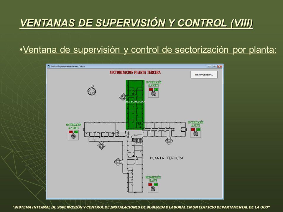 Ventana de supervisión y control de sectorización por planta: VENTANAS DE SUPERVISIÓN Y CONTROL (VIII) SISTEMA INTEGRAL DE SUPERVISIÓN Y CONTROL DE IN