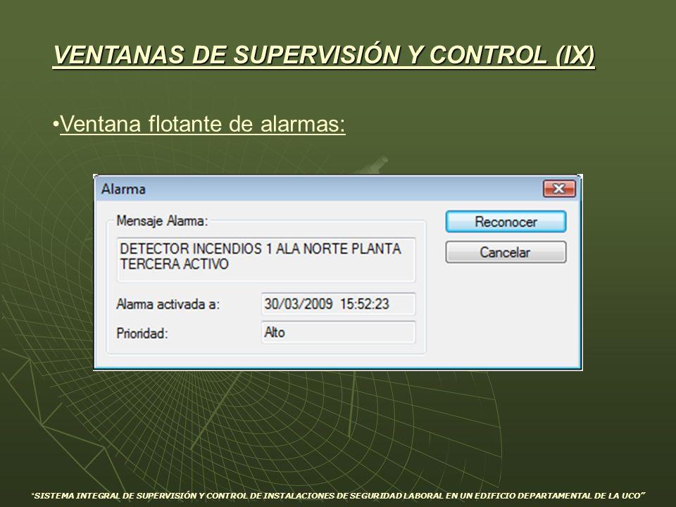 Ventana flotante de alarmas: VENTANAS DE SUPERVISIÓN Y CONTROL (IX) SISTEMA INTEGRAL DE SUPERVISIÓN Y CONTROL DE INSTALACIONES DE SEGURIDAD LABORAL EN