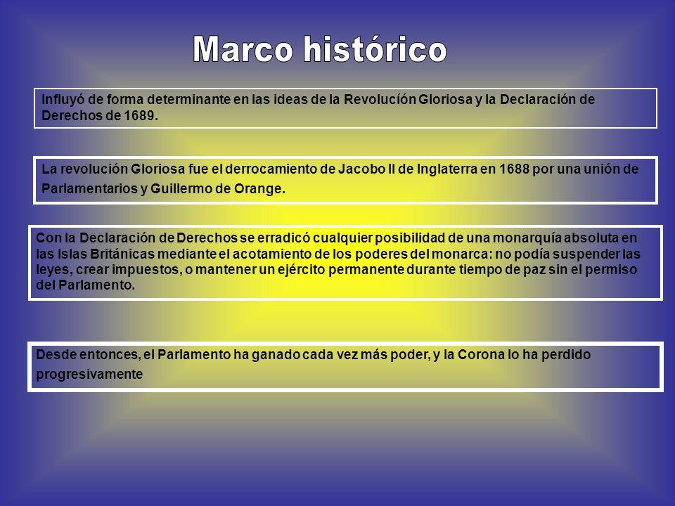 Influyó de forma determinante en las ideas de la Revolucíón Gloriosa y la Declaración de Derechos de 1689.