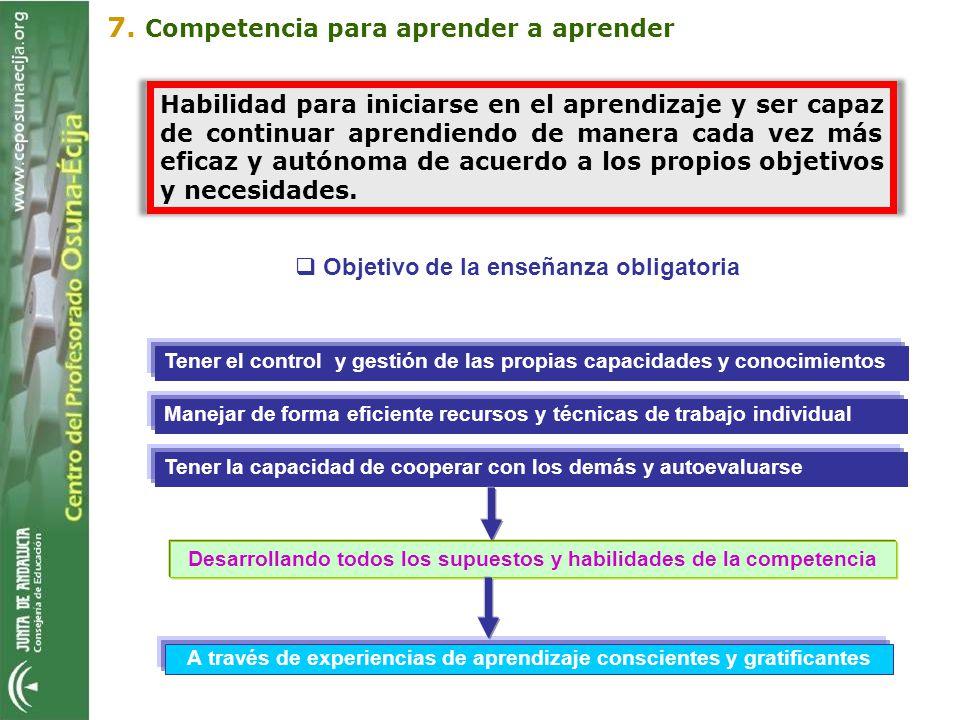 Objetivo de la enseñanza obligatoria A través de experiencias de aprendizaje conscientes y gratificantes 7. Competencia para aprender a aprender Tener