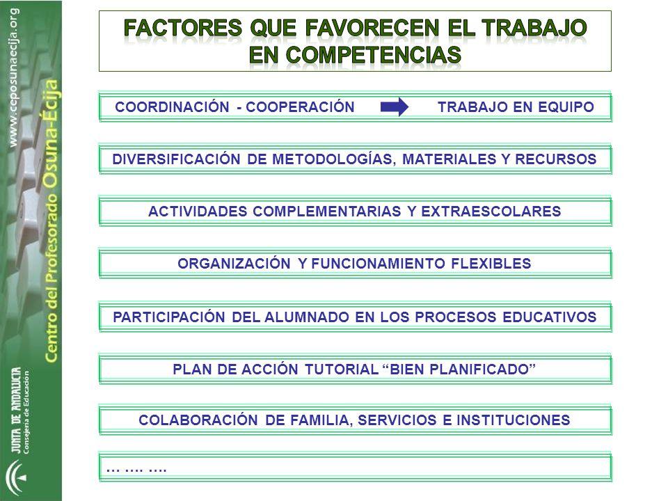 COORDINACIÓN - COOPERACIÓN TRABAJO EN EQUIPO DIVERSIFICACIÓN DE METODOLOGÍAS, MATERIALES Y RECURSOS ACTIVIDADES COMPLEMENTARIAS Y EXTRAESCOLARES ORGAN
