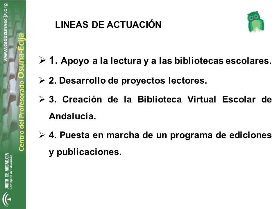 LINEAS DE ACTUACIÓN 1. Apoyo a la lectura y a las bibliotecas escolares. 2. Desarrollo de proyectos lectores. 3. Creación de la Biblioteca Virtual Esc