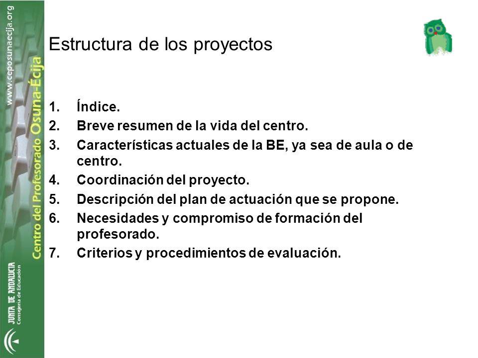 1.Índice. 2.Breve resumen de la vida del centro. 3.Características actuales de la BE, ya sea de aula o de centro. 4.Coordinación del proyecto. 5.Descr