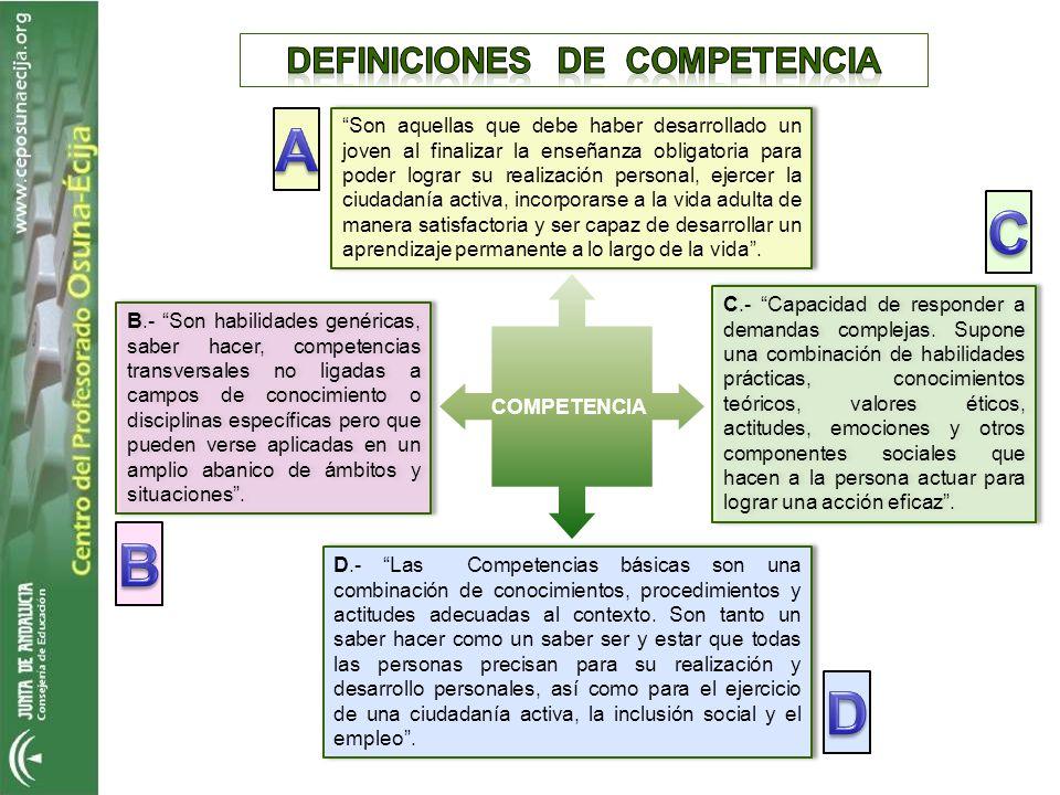 COMPETENCIA Son aquellas que debe haber desarrollado un joven al finalizar la enseñanza obligatoria para poder lograr su realización personal, ejercer