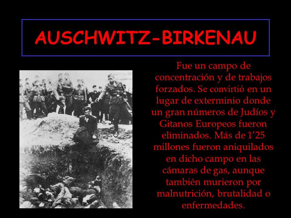 AUSCHWITZ-BIRKENAU Fue un campo de concentración y de trabajos forzados. Se convirtió en un lugar de exterminio donde un gran números de Judíos y Gita