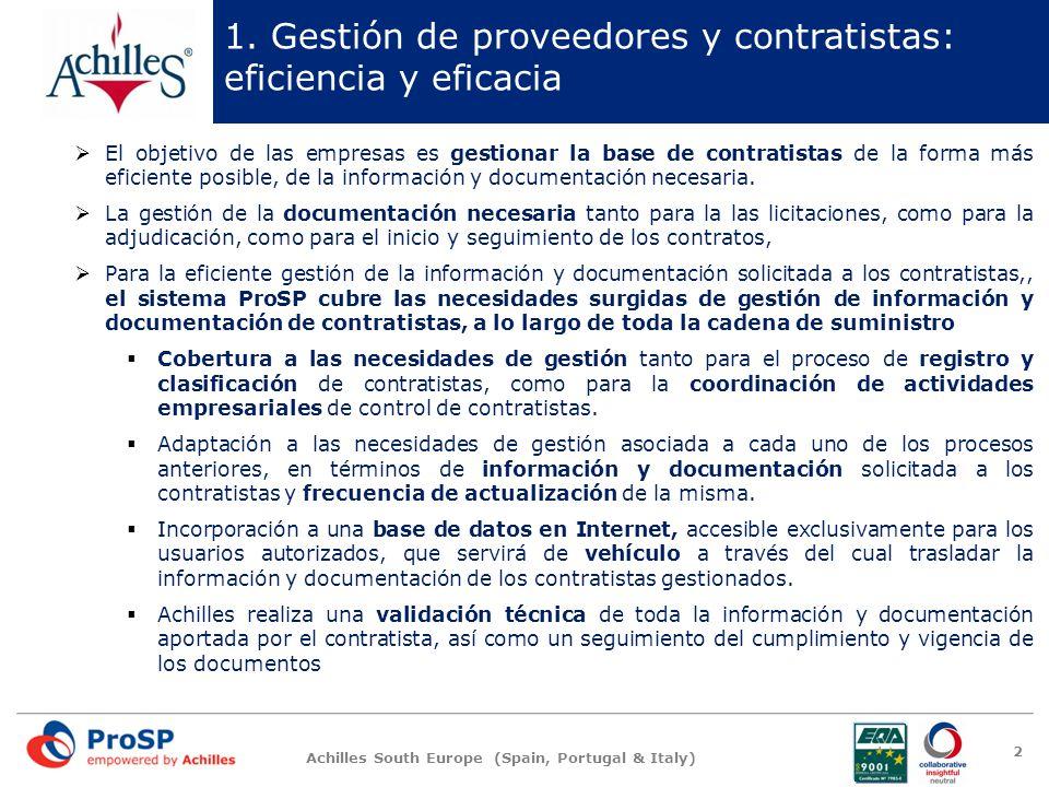 Achilles South Europe (Spain, Portugal & Italy) 1. Gestión de proveedores y contratistas: eficiencia y eficacia El objetivo de las empresas es gestion