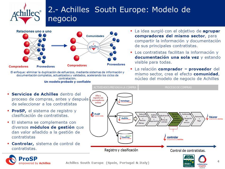 Achilles South Europe (Spain, Portugal & Italy) 3.- ProSP: Sistema de registro y clasificación de contratistas 5 ProSP: validación técnica de los contratistas mediante la gestión de toda la información y documentación asociada a la necesidad de acreditar los términos administrativos exigidos.