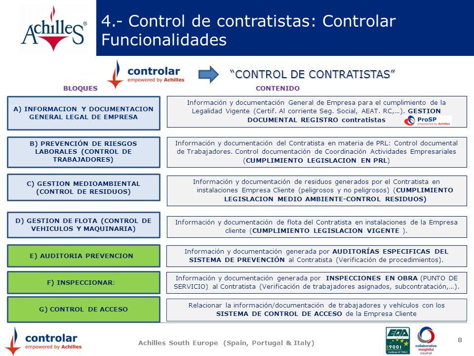Achilles South Europe (Spain, Portugal & Italy) 8 4.- Control de contratistas: Controlar Funcionalidades CONTROL DE CONTRATISTAS B) PREVENCIÓN DE RIES