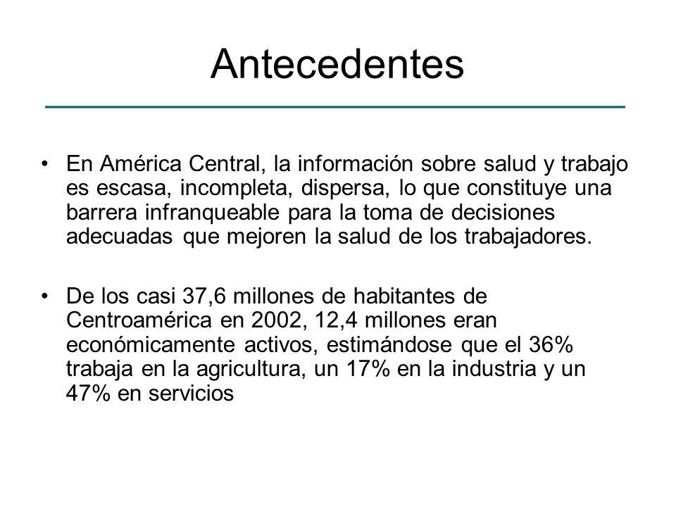 Antecedentes En América Central, la información sobre salud y trabajo es escasa, incompleta, dispersa, lo que constituye una barrera infranqueable par