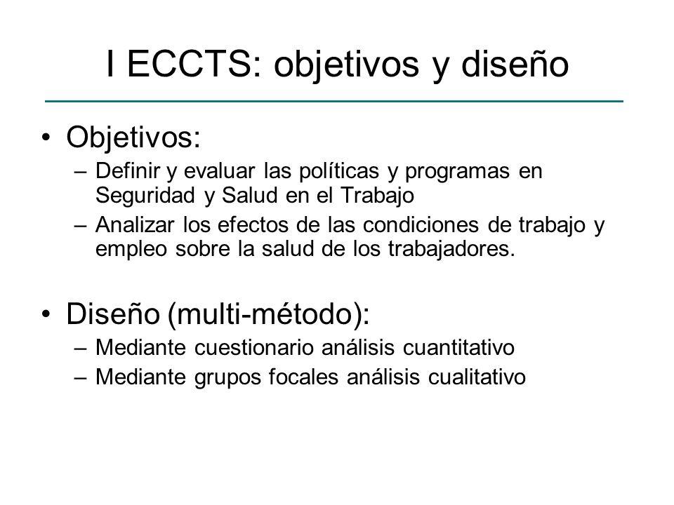 I ECCTS: objetivos y diseño Objetivos: –Definir y evaluar las políticas y programas en Seguridad y Salud en el Trabajo –Analizar los efectos de las co