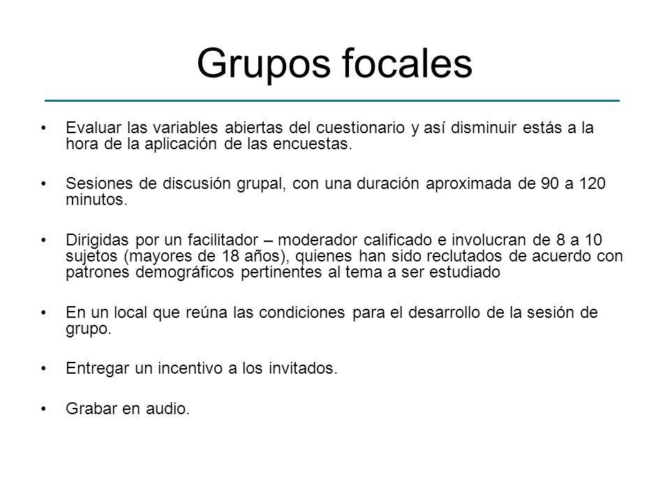 Grupos focales Evaluar las variables abiertas del cuestionario y así disminuir estás a la hora de la aplicación de las encuestas. Sesiones de discusió