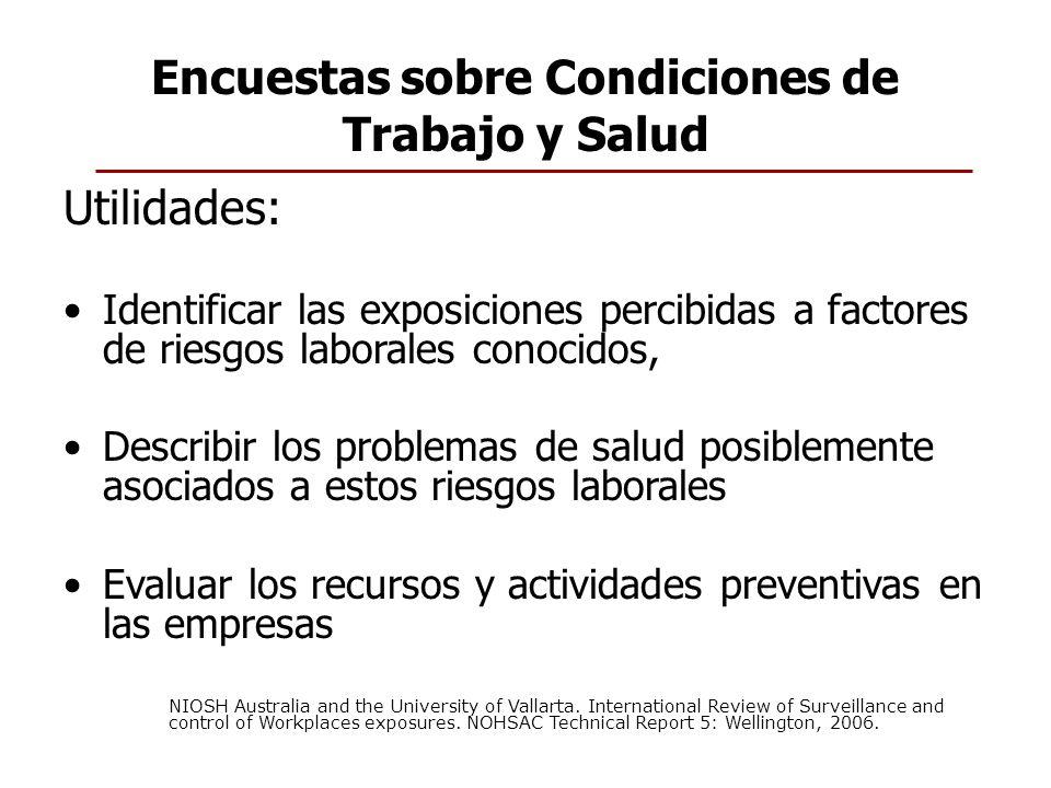Encuestas sobre Condiciones de Trabajo y Salud Utilidades: Identificar las exposiciones percibidas a factores de riesgos laborales conocidos, Describi