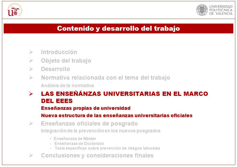 Introducción Objeto del trabajo Desarrollo Normativa relacionada con el tema del trabajo Análisis de la normativa LAS ENSEÑÁNZAS UNIVERSITARIAS EN EL