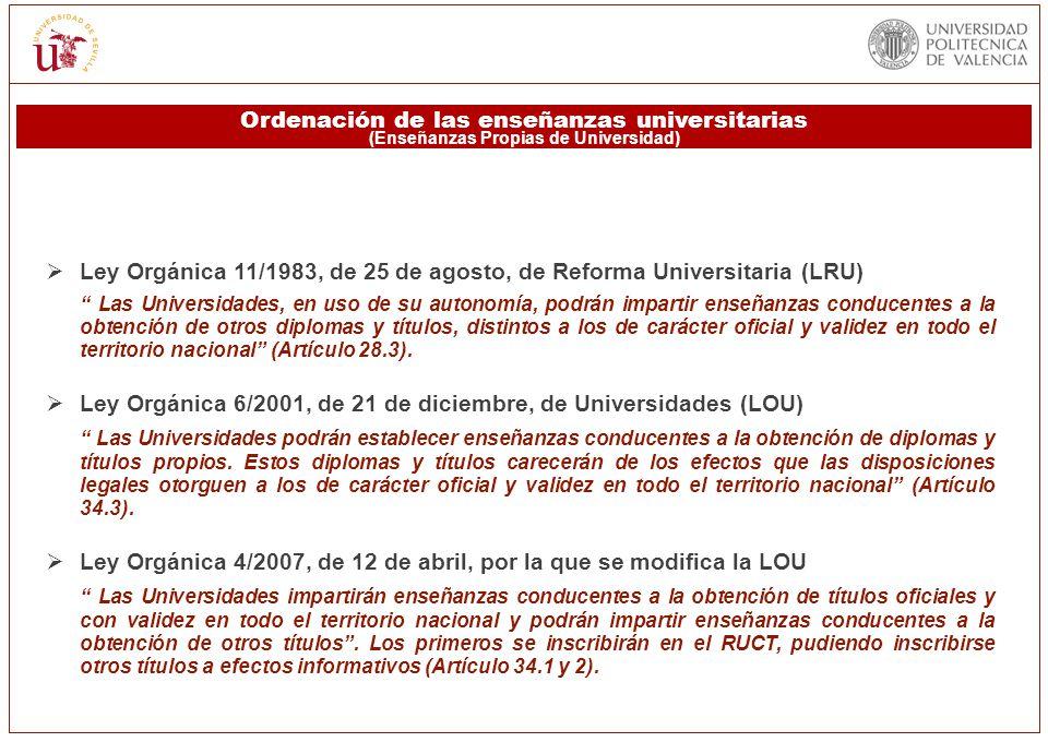 Ley Orgánica 11/1983, de 25 de agosto, de Reforma Universitaria (LRU) Las Universidades, en uso de su autonomía, podrán impartir enseñanzas conducente