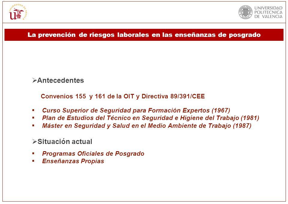Antecedentes Convenios 155 y 161 de la OIT y Directiva 89/391/CEE Curso Superior de Seguridad para Formación Expertos (1967) Plan de Estudios del Técn