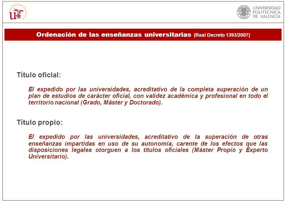Título oficial: El expedido por las universidades, acreditativo de la completa superación de un plan de estudios de carácter oficial, con validez acad