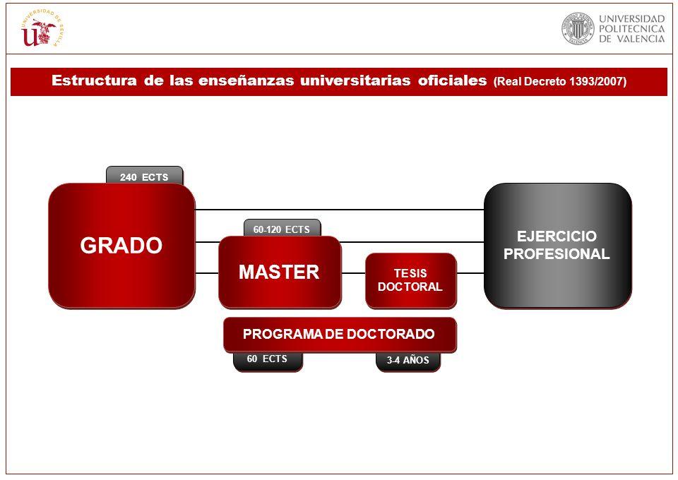 Estructura de las enseñanzas universitarias oficiales (Real Decreto 1393/2007) 3-4 AÑOS 240 ECTS 60 ECTS 60-120 ECTS GRADO MASTER TESIS DOCTORAL PROGR