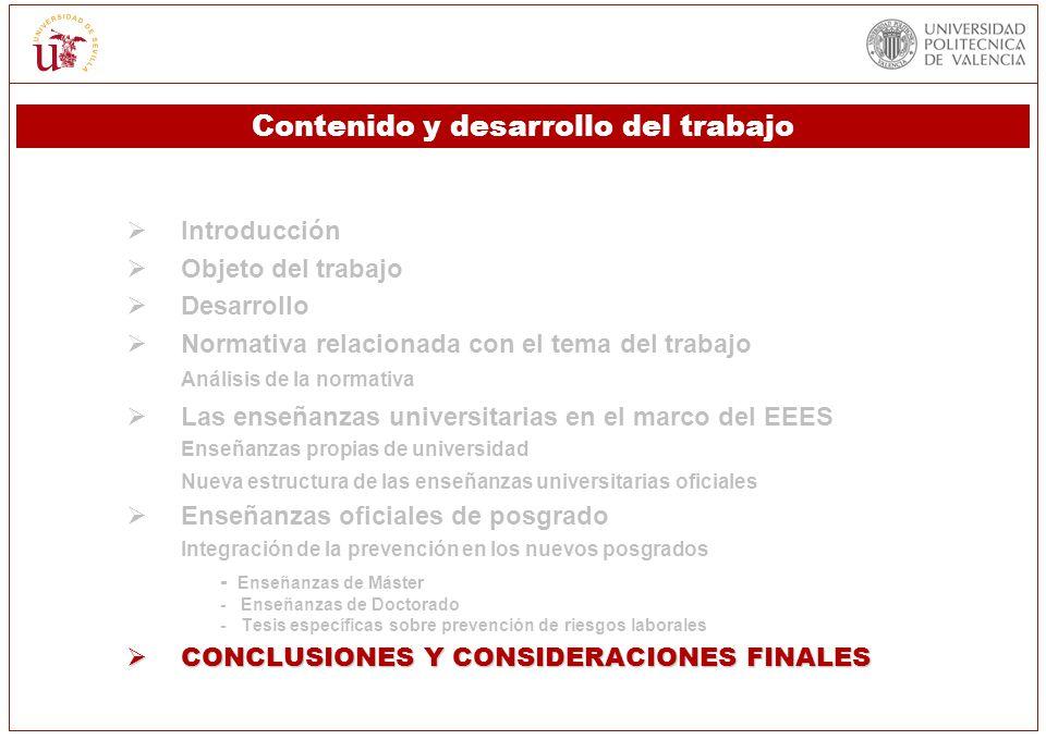 Introducción Objeto del trabajo Desarrollo Normativa relacionada con el tema del trabajo Análisis de la normativa Las enseñanzas universitarias en el