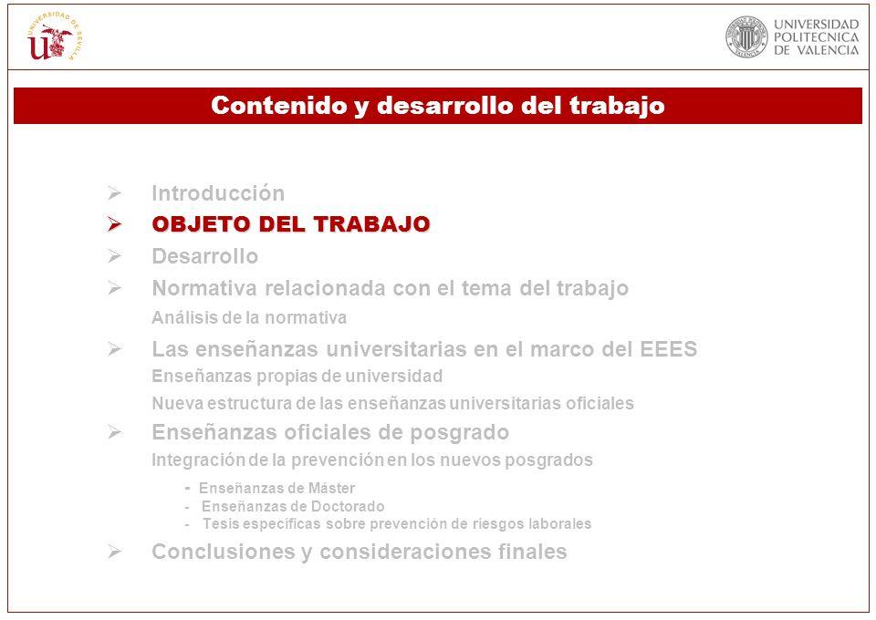 Introducción OBJETO DEL TRABAJO OBJETO DEL TRABAJO Desarrollo Normativa relacionada con el tema del trabajo Análisis de la normativa Las enseñanzas un