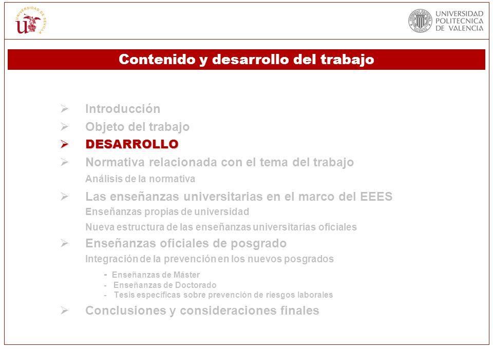 Introducción Objeto del trabajo DESARROLLO DESARROLLO Normativa relacionada con el tema del trabajo Análisis de la normativa Las enseñanzas universita