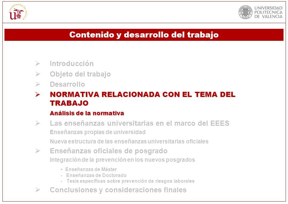 Introducción Objeto del trabajo Desarrollo NORMATIVA RELACIONADA CON EL TEMA DEL TRABAJO NORMATIVA RELACIONADA CON EL TEMA DEL TRABAJO Análisis de la