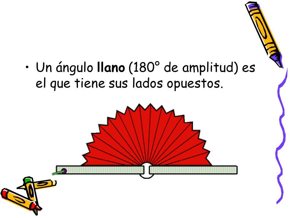 Un ángulo llano (180° de amplitud) es el que tiene sus lados opuestos.