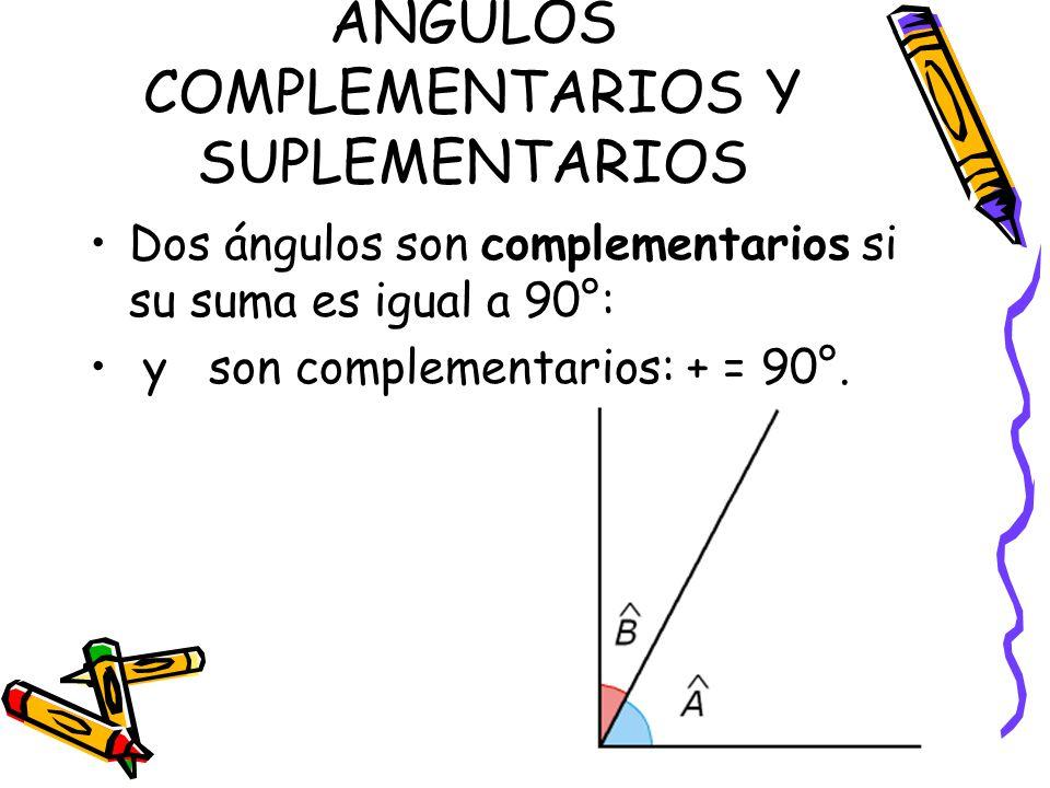 ÁNGULOS COMPLEMENTARIOS Y SUPLEMENTARIOS Dos ángulos son complementarios si su suma es igual a 90°: y son complementarios: + = 90°.