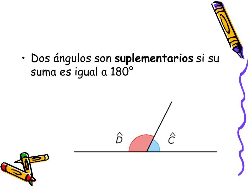 Dos ángulos son suplementarios si su suma es igual a 180°
