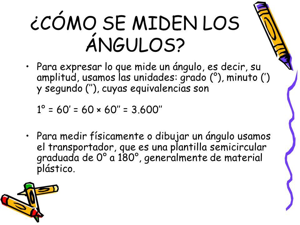 ¿CÓMO SE MIDEN LOS ÁNGULOS? Para expresar lo que mide un ángulo, es decir, su amplitud, usamos las unidades: grado (°), minuto () y segundo (), cuyas