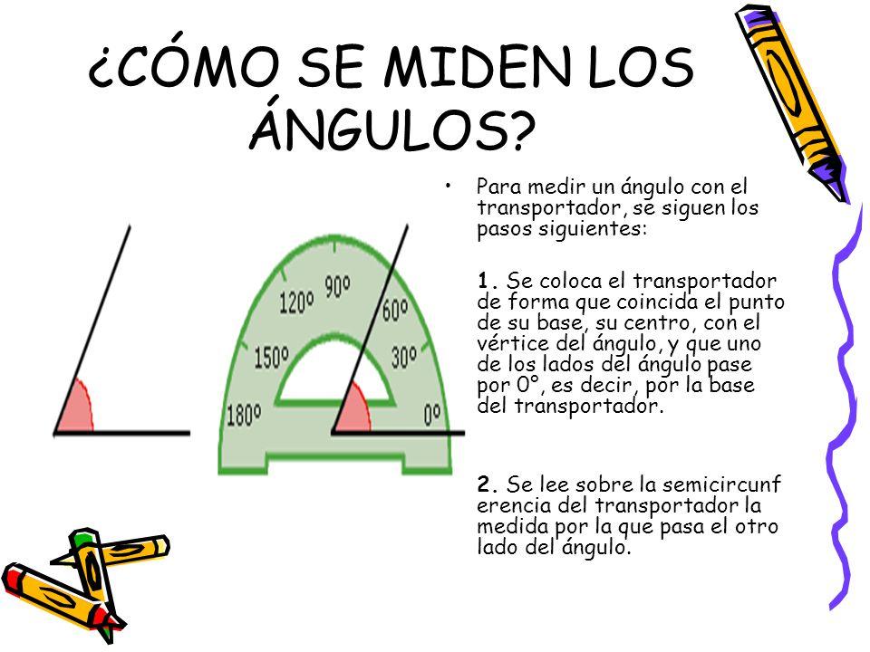 ¿CÓMO SE MIDEN LOS ÁNGULOS? Para medir un ángulo con el transportador, se siguen los pasos siguientes: 1. Se coloca el transportador de forma que coin