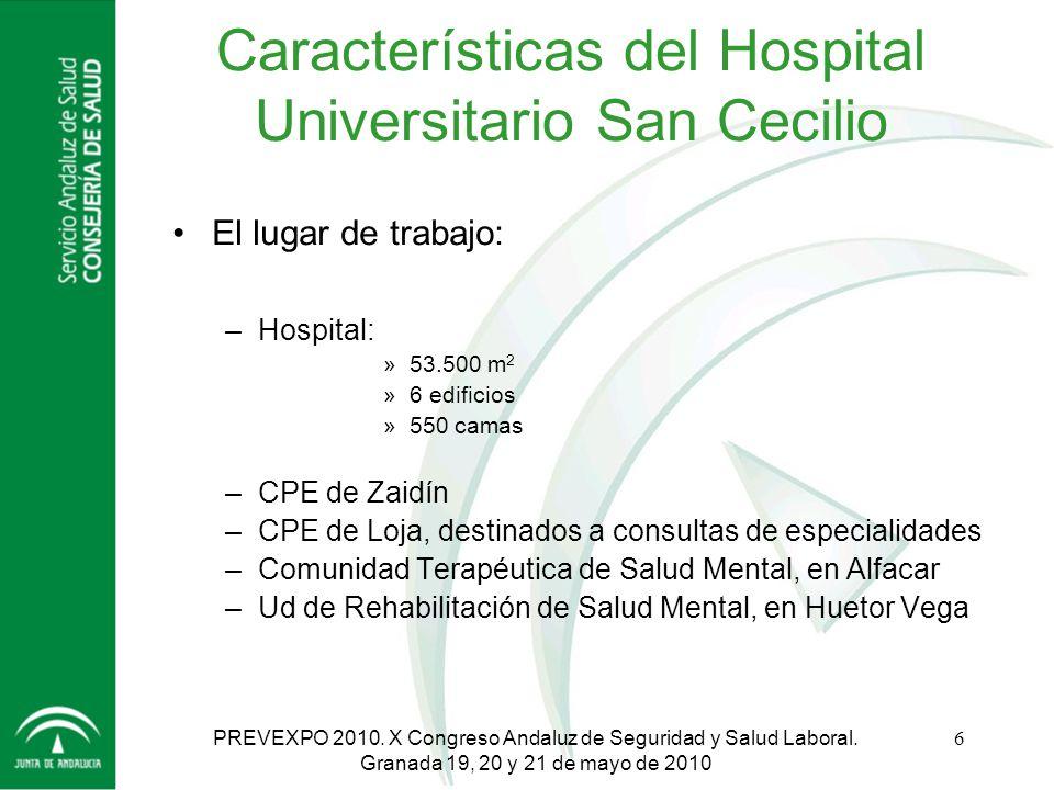 Servicio Andaluz de Salud CONSEJERÍA DE SALUD HOSPITAL UNIVERSITARIO San Cecilio - Granada PREVEXPO 2010. X Congreso Andaluz de Seguridad y Salud Labo
