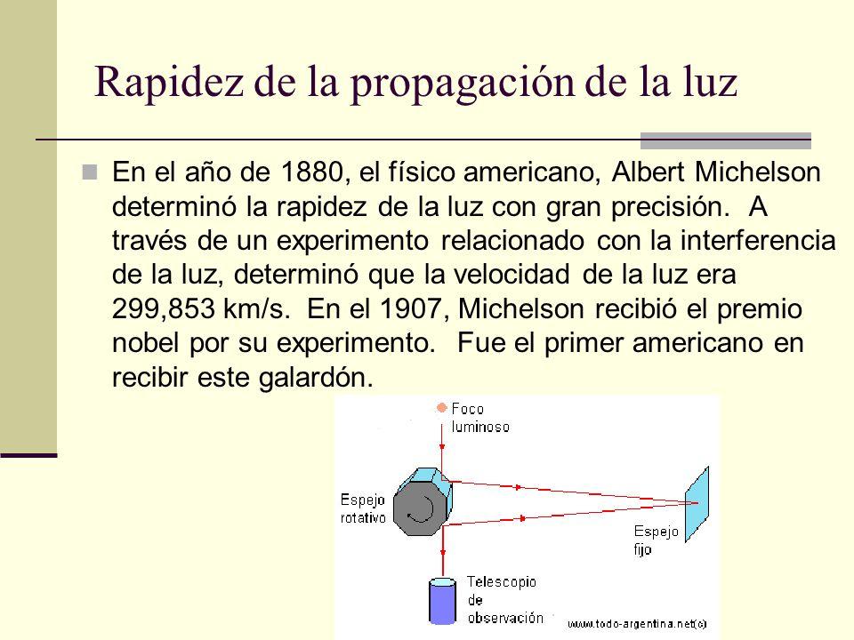 Rapidez de la propagación de la luz En el año de 1880, el físico americano, Albert Michelson determinó la rapidez de la luz con gran precisión. A trav