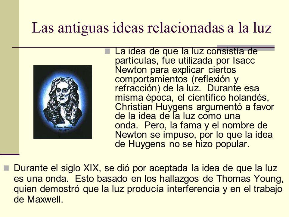 Las antiguas ideas relacionadas a la luz La idea de que la luz consistía de partículas, fue utilizada por Isacc Newton para explicar ciertos comportam