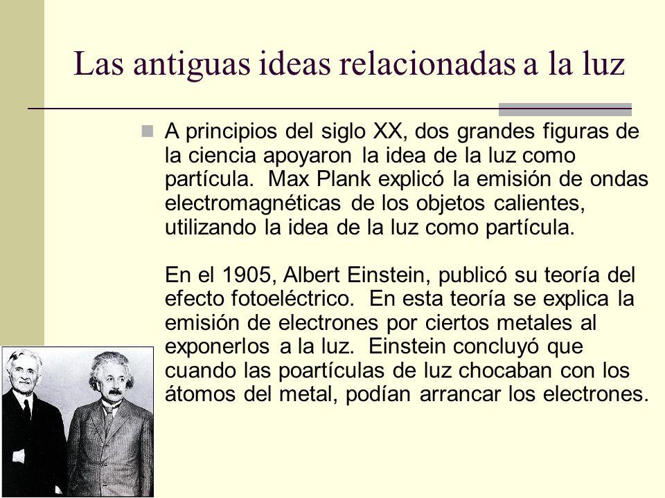 Las antiguas ideas relacionadas a la luz A principios del siglo XX, dos grandes figuras de la ciencia apoyaron la idea de la luz como partícula. Max P