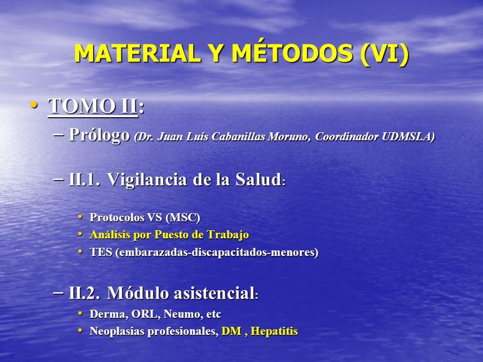 MATERIAL Y MÉTODOS (VI) TOMO II: TOMO II: – Prólogo (Dr. Juan Luís Cabanillas Moruno, Coordinador UDMSLA) – II.1. Vigilancia de la Salud : Protocolos