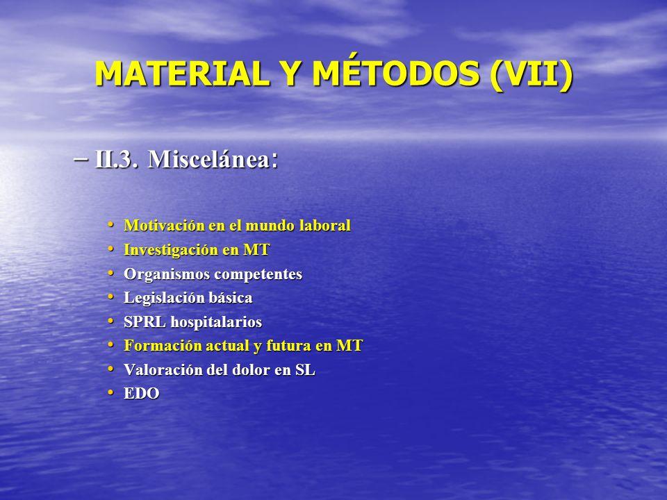 MATERIAL Y MÉTODOS (VII) – II.3. Miscelánea : Motivación en el mundo laboral Motivación en el mundo laboral Investigación en MT Investigación en MT Or