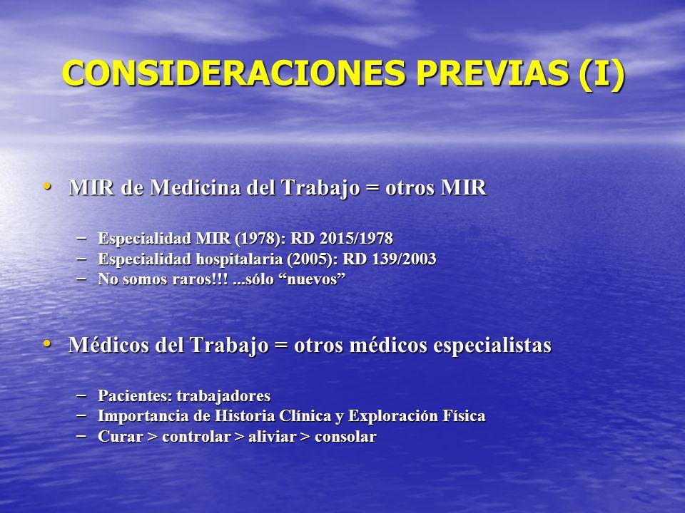 CONSIDERACIONES PREVIAS (I) MIR de Medicina del Trabajo = otros MIR MIR de Medicina del Trabajo = otros MIR – Especialidad MIR (1978): RD 2015/1978 –