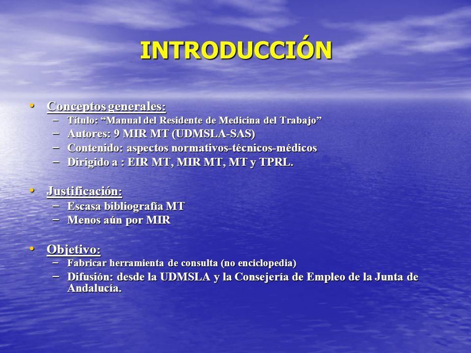 INTRODUCCIÓN Conceptos generales : Conceptos generales : – Título: Manual del Residente de Medicina del Trabajo – Autores: 9 MIR MT (UDMSLA-SAS) – Con