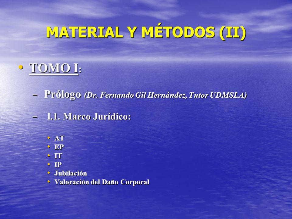 MATERIAL Y MÉTODOS (II) TOMO I : TOMO I : – Prólogo (Dr. Fernando Gil Hernández, Tutor UDMSLA) – I.1. Marco Jurídico: AT AT EP EP IT IT IP IP Jubilaci
