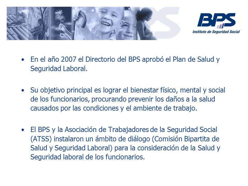 En el año 2007 el Directorio del BPS aprobó el Plan de Salud y Seguridad Laboral. Su objetivo principal es lograr el bienestar físico, mental y social