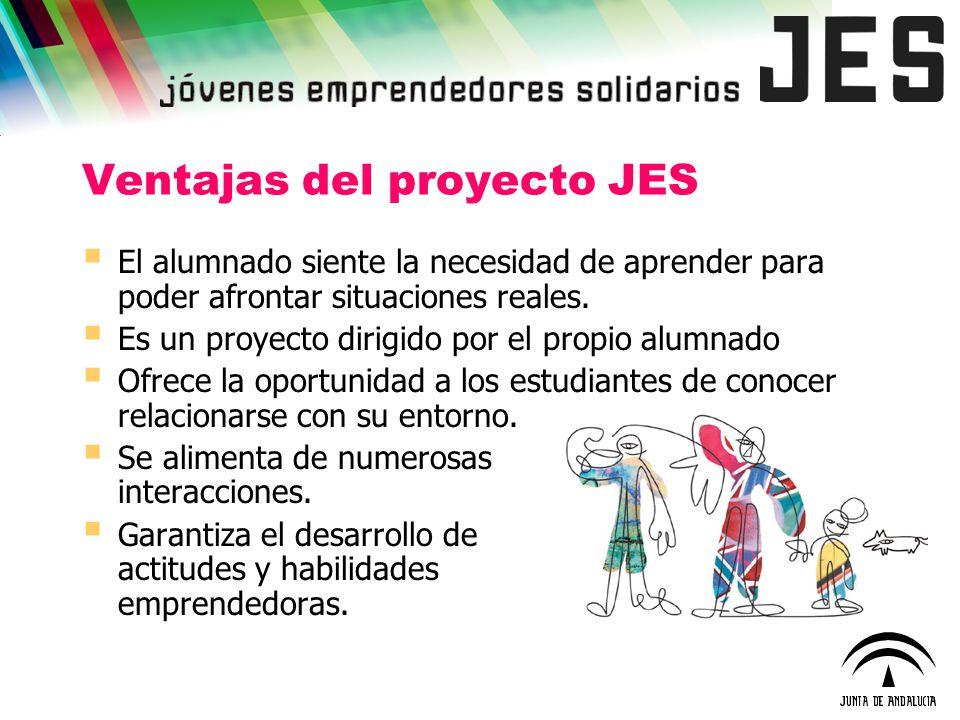Ventajas del proyecto JES El alumnado siente la necesidad de aprender para poder afrontar situaciones reales. Es un proyecto dirigido por el propio al