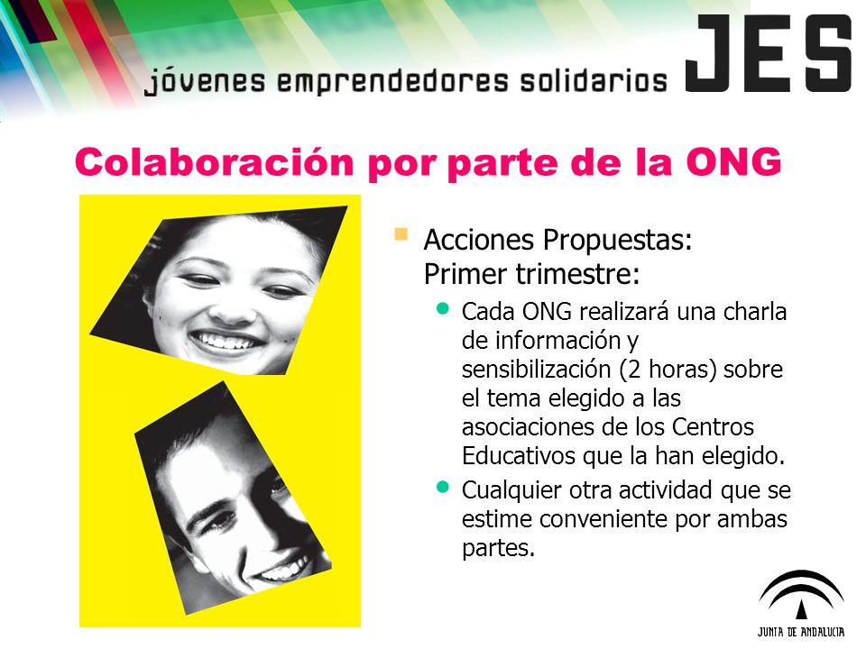 Colaboración por parte de la ONG Acciones Propuestas: Primer trimestre: Cada ONG realizará una charla de información y sensibilización (2 horas) sobre