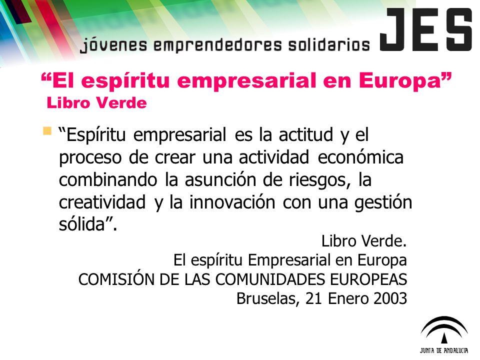 El espíritu empresarial en Europa Libro Verde Espíritu empresarial es la actitud y el proceso de crear una actividad económica combinando la asunción